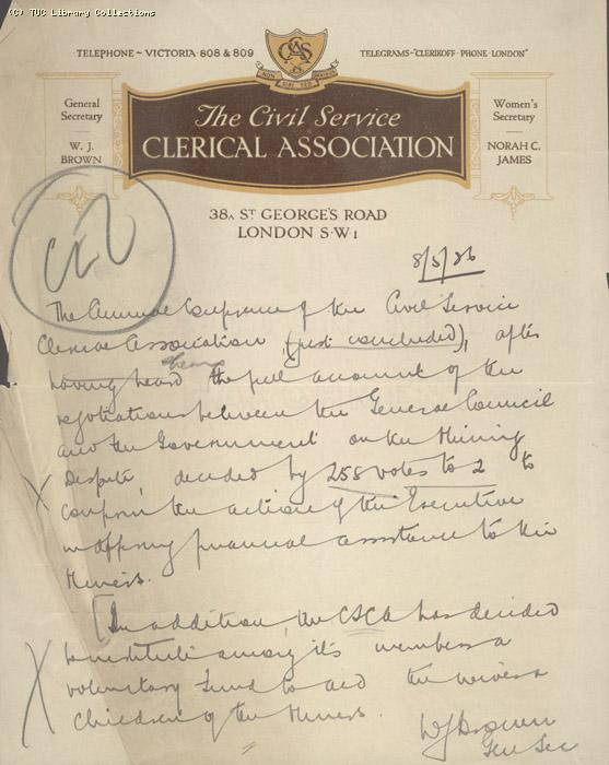 Letter - CSCA, 8 May 1926
