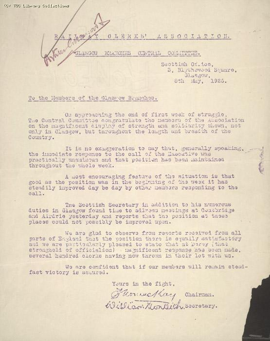 Letter - RCA, Glasgow, 8 May 1926