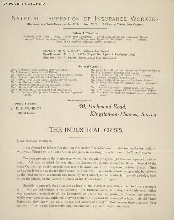 NFIW 'the industrial crisis' 10 May 1926