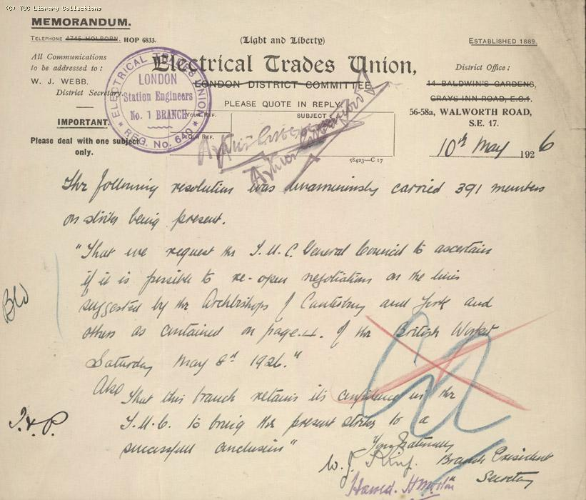 Letter - Electrical Trades Union, 10 May 1926