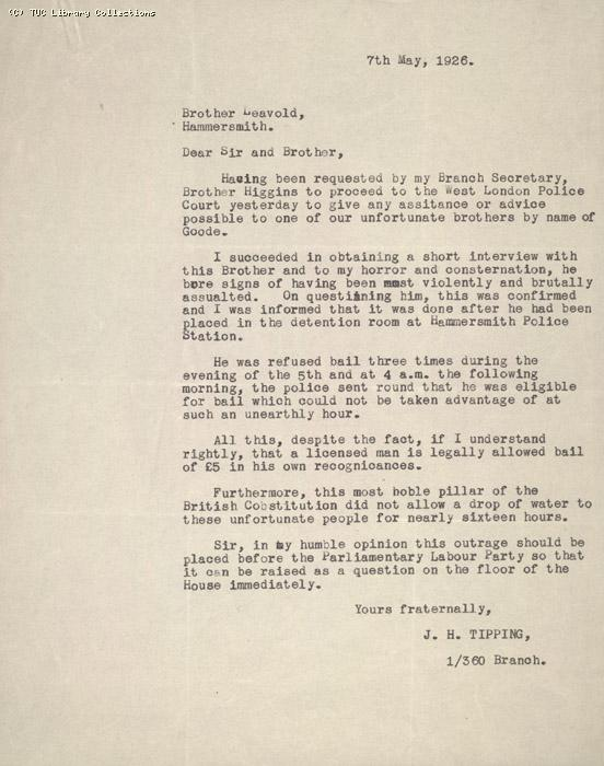 Letter - from Tipping, 7 May 1926