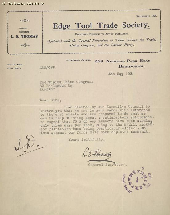 Letter - Edge tool trade, 5 May 1926