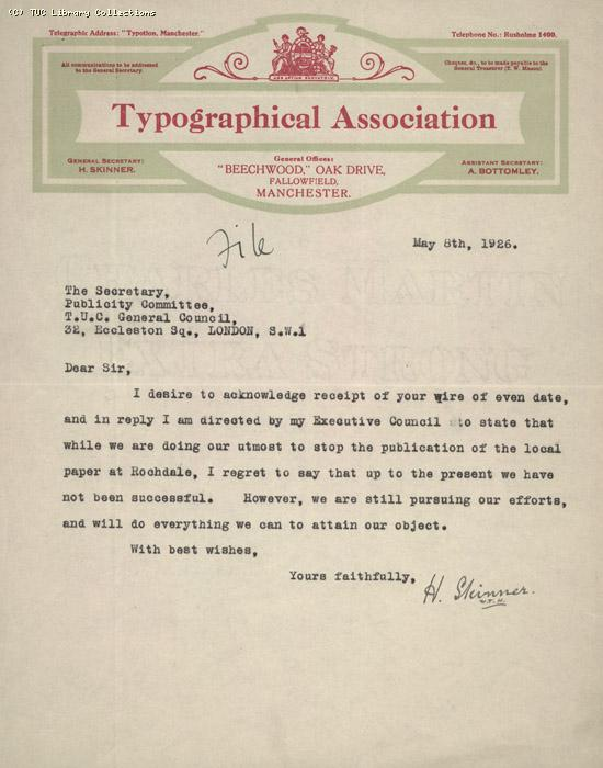 Letter - Typographical Assoc. 8 May 1926
