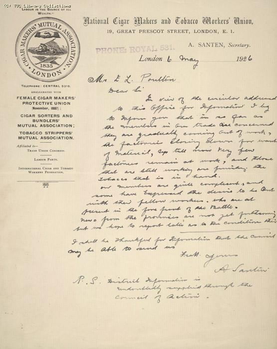 Letter - Nat. Cigar Makers Union,  6 May 1926