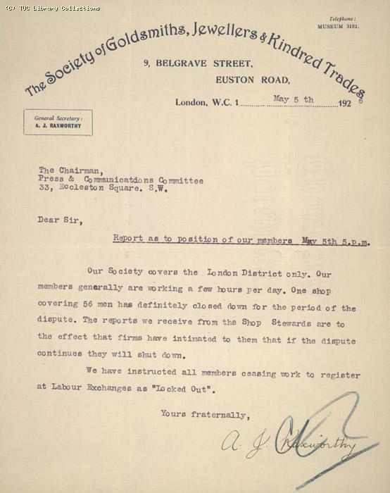 Report - Soc.of Goldsmiths,   5 May 1926