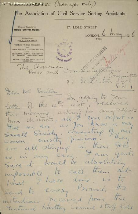 Letter - The Association of Civil Service Sorting Assistants, 6 May 1926