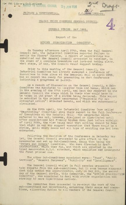 Report - Strike Organisation Committee to General Council, May 1926