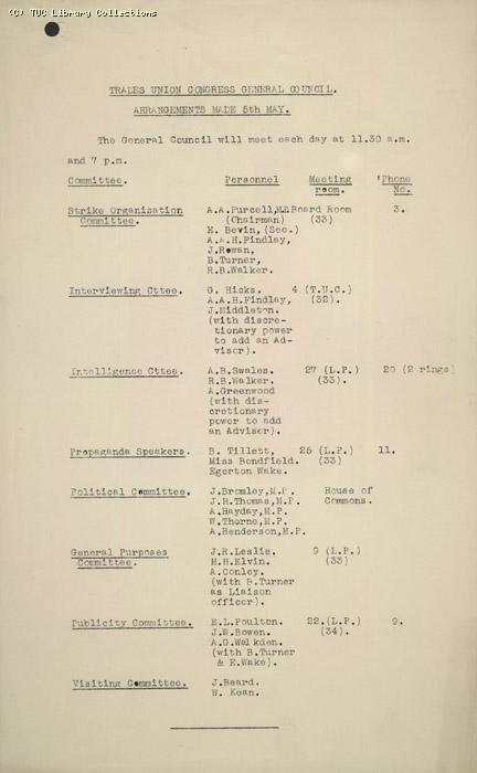 Committee Arrangements 5 May 1926