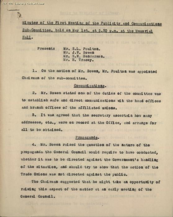 Minutes - 1st Meeting of the  Publicity & Communications Ctte  1 May 1926