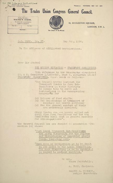 Report - Nat. Transport Ctte, No.27,  4 May 1926