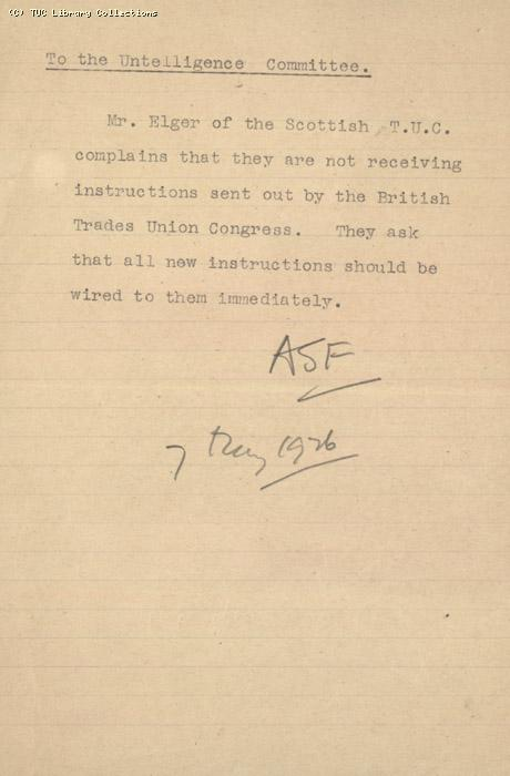 Note - To the Untelligence Ctte, 7 May 1926