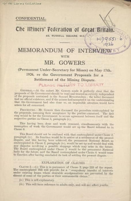 Memo - of Gowers Interview, Miners' Federation of Great Britain