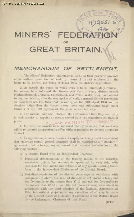 Memo of settlement - Miners' Federation of Great Britain