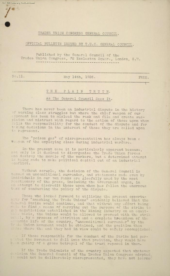 TUC Official Bulletin, 11, 14 May 1926