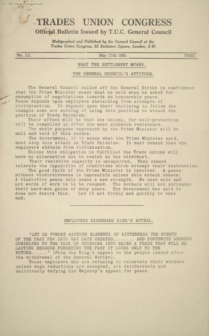 TUC Official Bulletin, 10, 13 May 1926