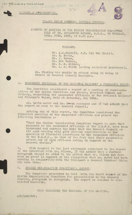 Minutes - TUC/Soc, 15 June 1926
