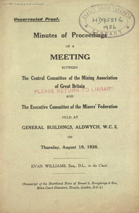 Minutes - Proc . Meeting 19 August 1926