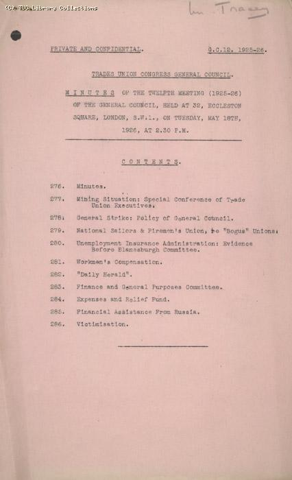 Minutes - TUC General Council, 12, 18 May 1926