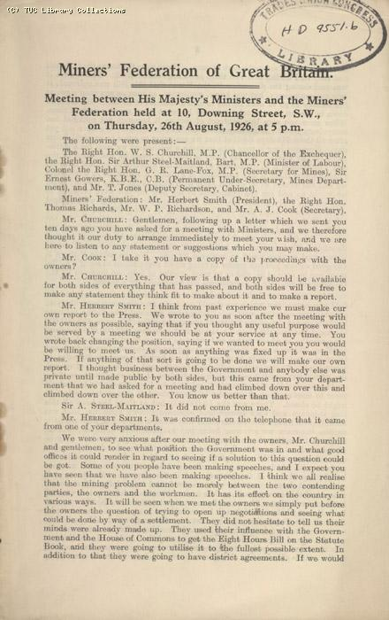 Note - MFGB meeting, 26 August 1926