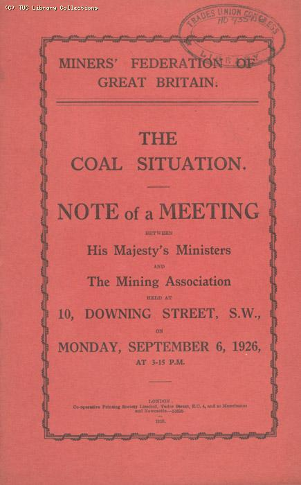 Note - MFGB meeting, 6 September 1926