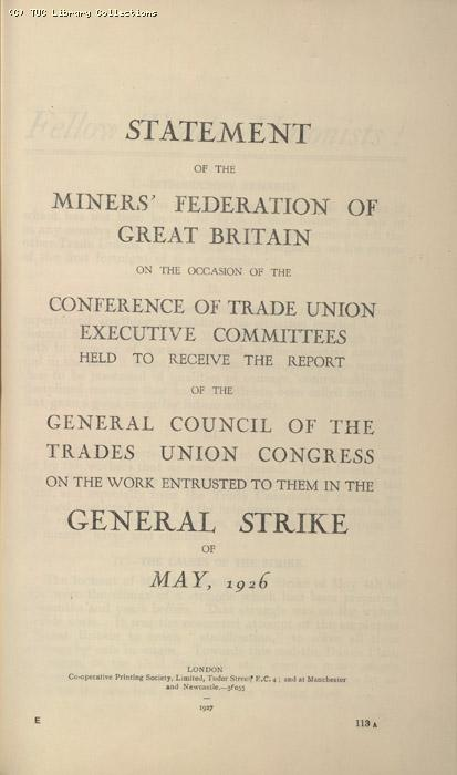 Statement - Miners Federation of Great Britain, Jan 1927