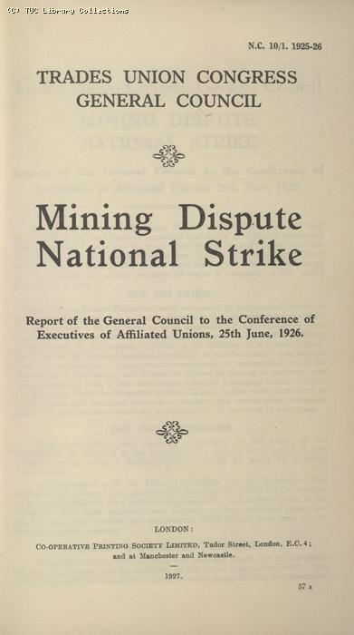 Miners Dispute, Strike/NC 10/1