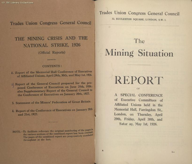 Mining Crisis and National Strike, 1925-1926 - The Mining Situation, special conference 29 April - 1 May 1926