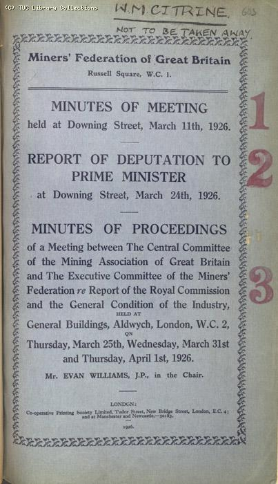 Mining Crisis and National Strike,1925/26 - MFGB Minutes 11 March to 1 April 1926