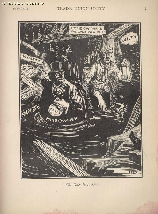 Cartoon (The only way out) - Trade Union Unity, February 1926