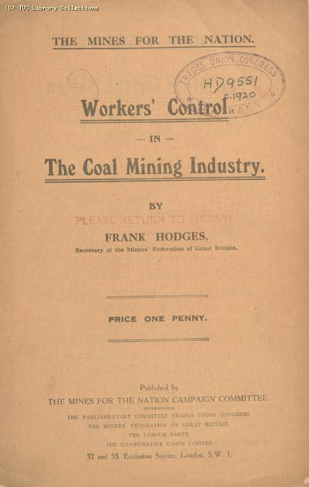 Workers control in the coal mining industry, 1920