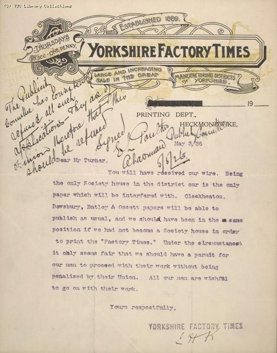 Letter - Yorkshire Factory Times, 5 May 1926