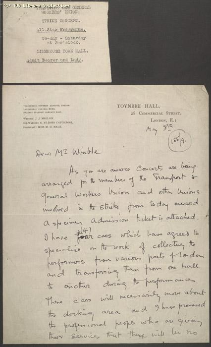 Letter - Toynbee Hall, 8 May 1926