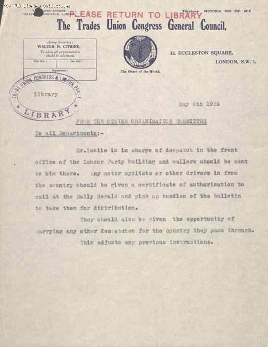 Memo - From The Strike Organisation Committee 6 May 1926