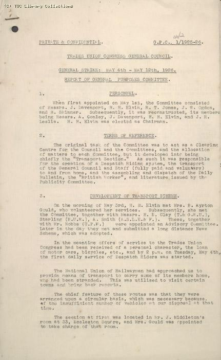 Report - General Purposes Committee, 14 February 1926