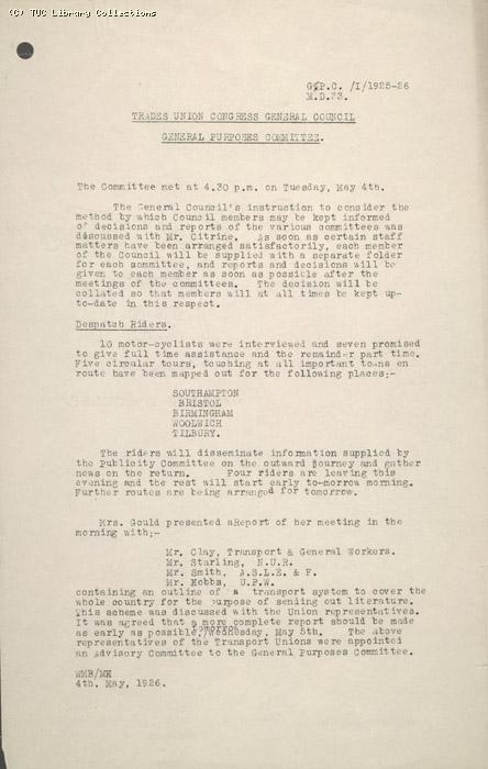 Report - General Purposes Committee, 4 May 1926