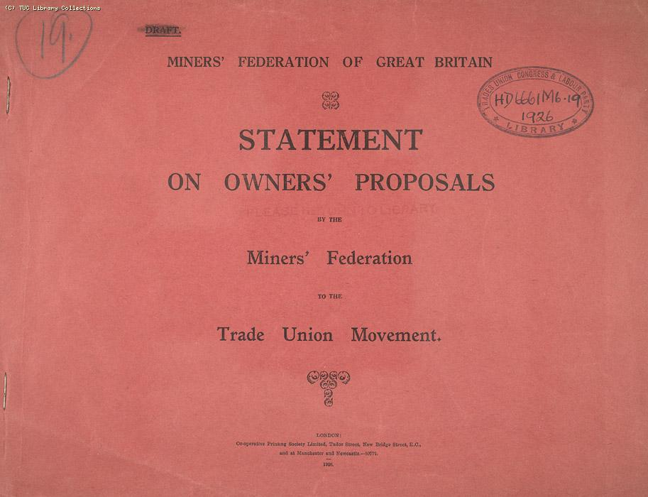 Miners Federation of Great Britain statement on owners proposal 27 April 1926