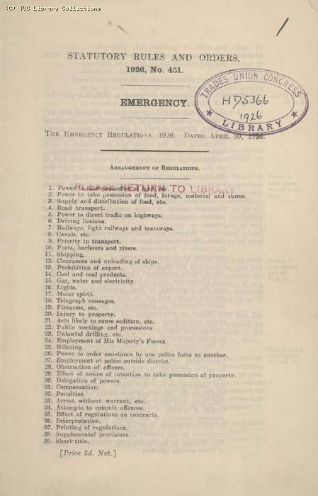 Statutory rules and orders no. 451 Emergency 30 April 1926