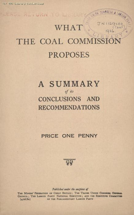 What the Coal Commission Proposes March 1926