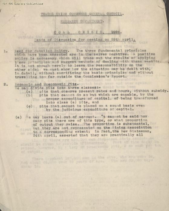 TUC research department documents 28 April 1926