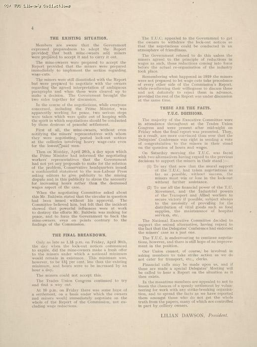 The Industrial Crisis 2 May 1926