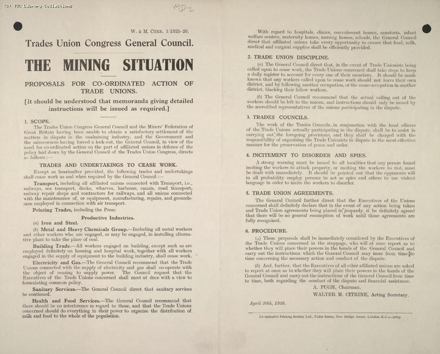 The Mining Situation proposals for action 29 April 1926