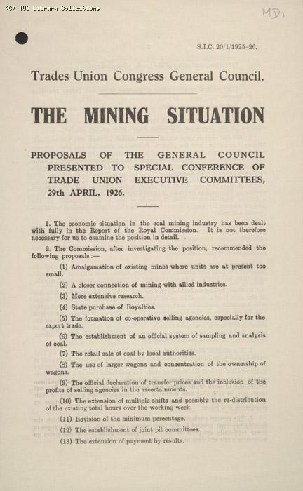 The Mining Situation 29 April 1926