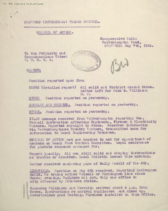 Report - Stafford (Divisional) Trades Council, 7 May 1926