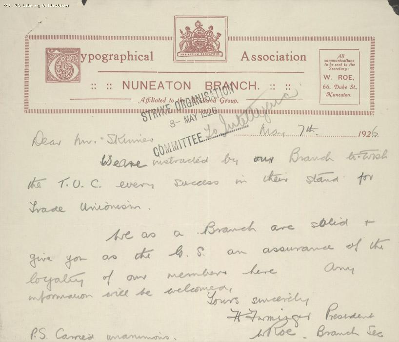 Letter - Typographical Association, Nuneaton Branch, 7 May 1926