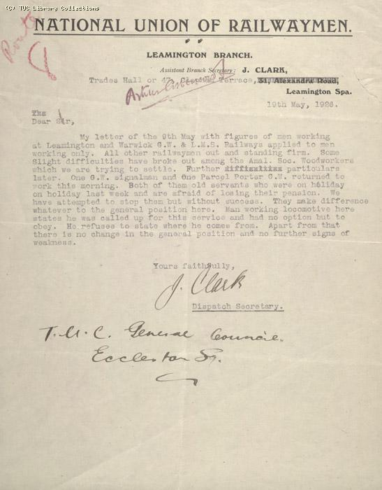 Letter - NUR, Leamington Branch, 19 May 1926