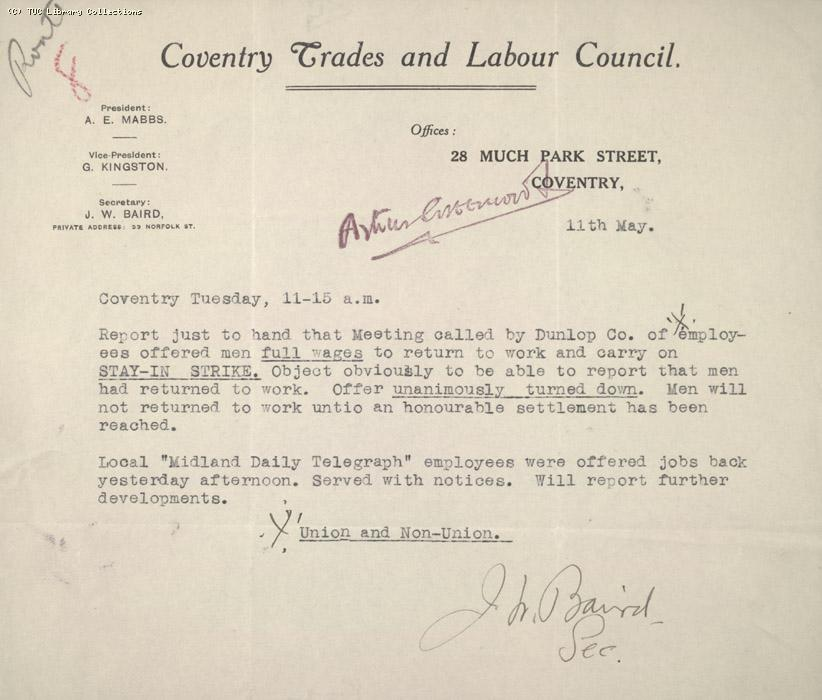 Report - Coventry Trades and Labour Council, 11 May 1926 (2)