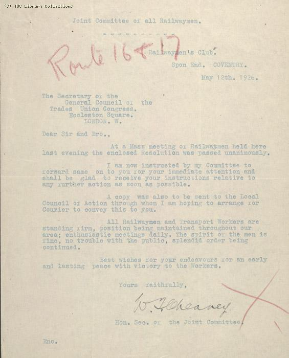 Letter - Joint Committee of all railwaymen 12 May 1926