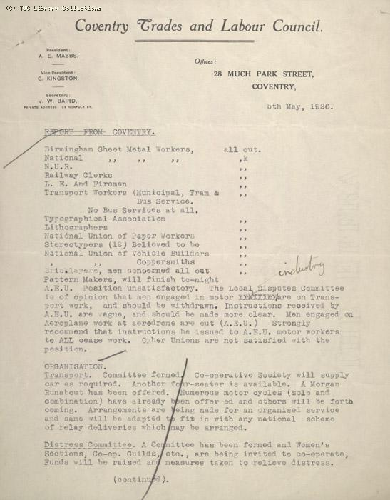 Report - Coventry Trades and Labour Council,  5 May 1926