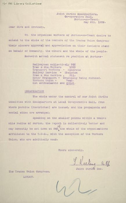 Letter - Joint Strike Headquarters Burton-on-Trent 8 May 1926