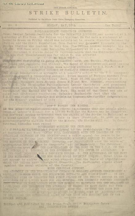 The Birmingham Central Strike Bulletin no.6, 10 May 1926